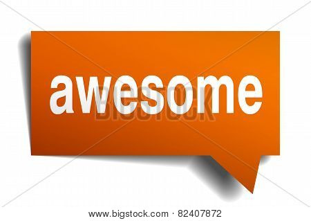 Awesome Orange Speech Bubble Isolated On White