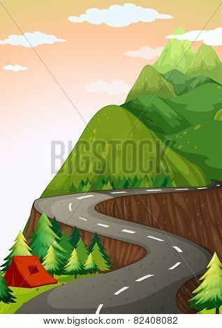 Illustration of a road up hill to camp site