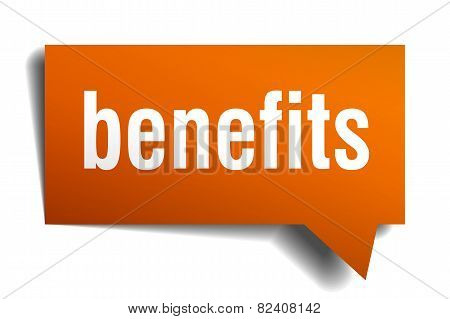 Benefits Orange Speech Bubble Isolated On White