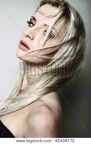 beautiful blond woman with perfect skin