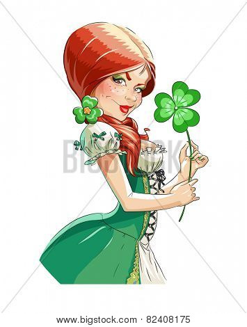 Beautiful girl with shamrock for saint Patricks day. Eps10 vector illustration. Isolated on white background
