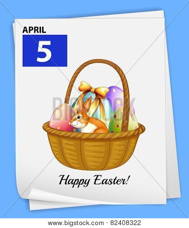Illustration of April 5 is for Easter