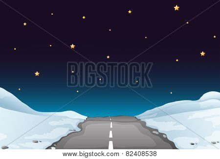 Illustration of a road covered by snow at night