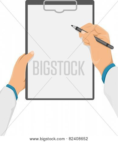 Cropped Illustration of a Doctor Writing Something on His Clipboard