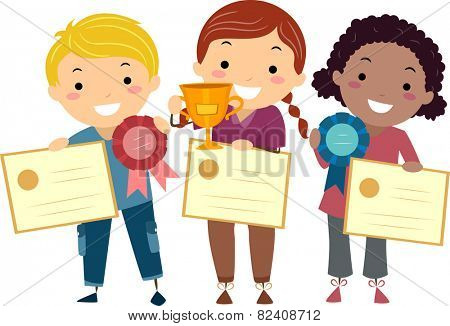 Stickman Illustration of Kids Holding Certificates, Ribbons, and a Trophy