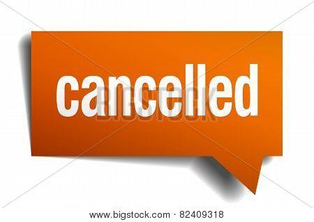Cancelled Orange Speech Bubble Isolated On White