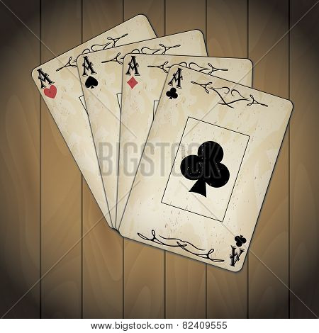 Ace Of Spades, Ace Of Hearts, Ace Of Diamonds, Ace Of Clubs Poker Cards Old Look Varnished Wood Back