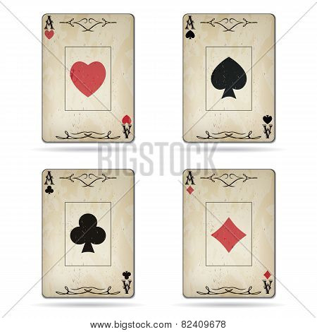 Ace Of Spades, Ace Of Hearts, Ace Of Diamonds, Ace Of Clubs Poker Cards Old Look Isolated On White B