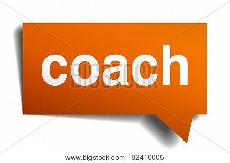 Coach Orange Speech Bubble Isolated On White