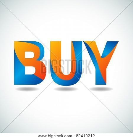 An image of buy text with orange and blue coloring.