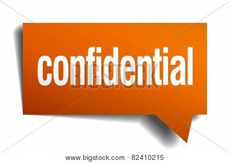 Confidential Orange Speech Bubble Isolated On White