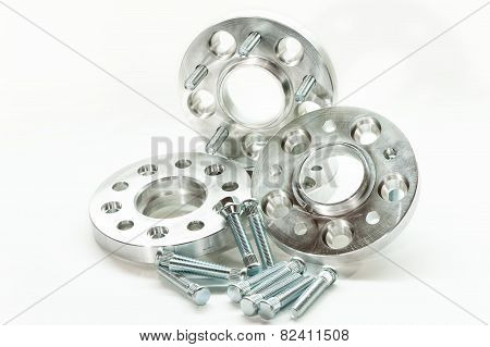 Metal Mold Of Flanges And Bolts. Cnc Milling/lathe Industry