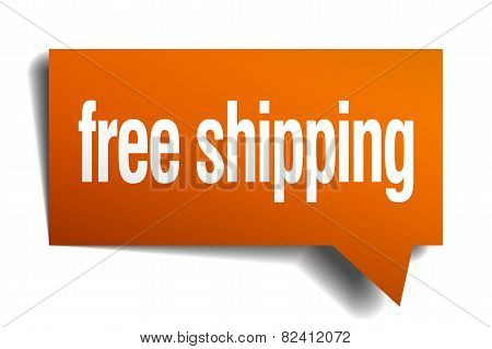 Free Shipping Orange Speech Bubble Isolated On White