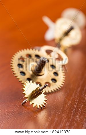 Different gears on the table in a row