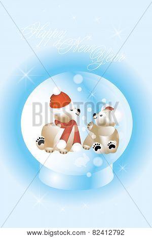 Adorable Christmas Teddies In Magic Snow Globe