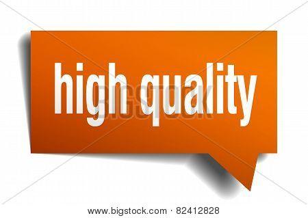 High Quality Orange Speech Bubble Isolated On White