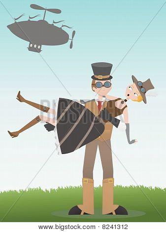 Steampunk Fang Steampunk Frau Mann, die von Luftschiff gefallen hat