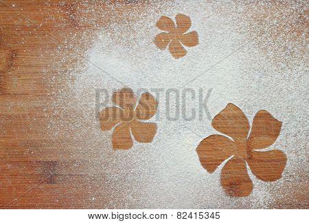 Flowers drawn of flour