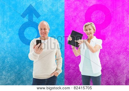 Happy mature woman pointing to tablet pc against female gender symbol