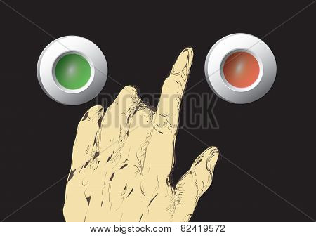 Hand Over Press Buttons