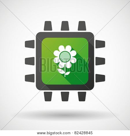 Cpu Icon With A Flower