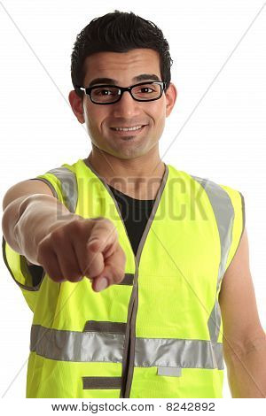 Builder Construction Worker Pointing At You