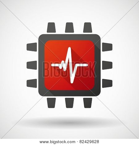 Cpu Icon With A Heart Beat Sign