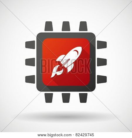 Cpu Icon With A Rocket