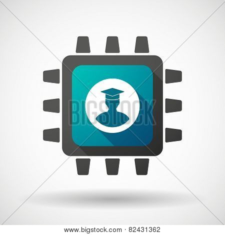 Cpu Icon With A Student