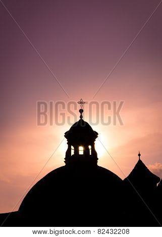 Silhouette Of Old Church
