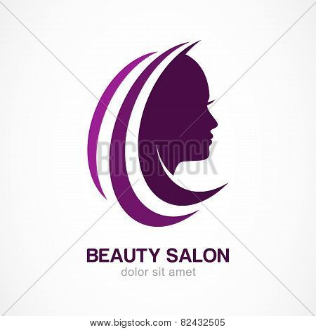 Vector Logo Design Template. Woman's Face Silhouette. Abstract Design Concept For Beauty Salon, Mass