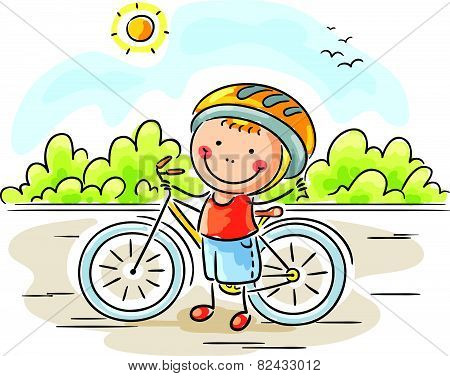 Little boy and bike