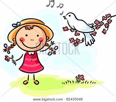 Little girl and bird's