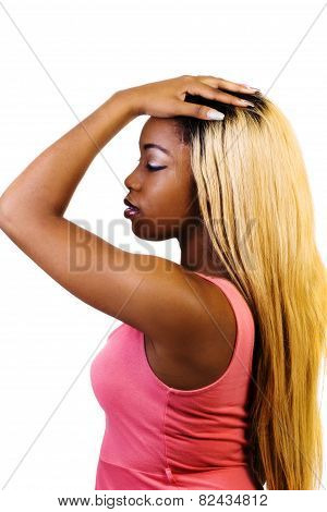 African American Woman Standing Blond Wig Profile