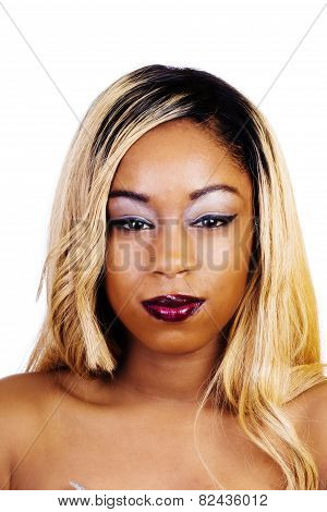 Bare Shoulder Portrait African American Woman Blond Wig