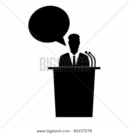 Speaker Talk Vector Black Silhouette