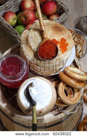 Pancakes, Red Caviar, Sour Cream And Crimson Berry Juice
