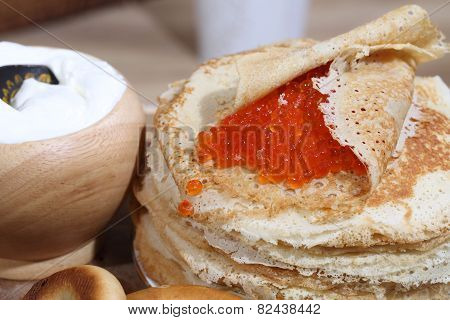 Red Caviar Wrapped In A Pancake