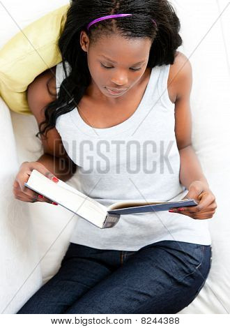 Concentrated Young Woman Reading A Book Sitting On A Sofa