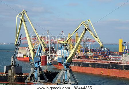 Yellow Cranes And Container Ship In Odessa Sea Port,Ukraine