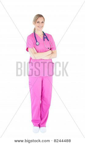 Self-assured Female Nurse With Stethoscope Smiling At The Camera
