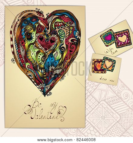 Set of doodle tribal love cards. Ethnic pattern.