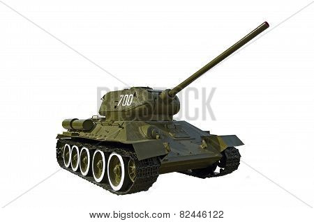 Soviet tank T-34 isolated on white