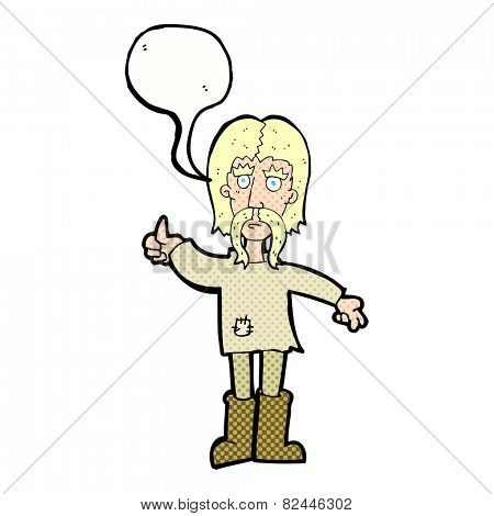 cartoon hippie man giving thumbs up symbol with speech bubble
