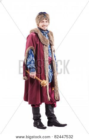 armed young cossack in national ukrainian dress isolated on white background