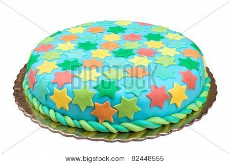 Birthday Cake From Sugar Mass. On A White Background.