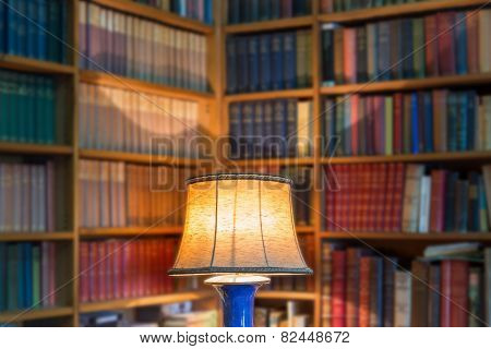 Angle Library Of Old Books And Knowledge. The Lamp Shade In The Foreground.