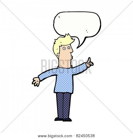 cartoon man advising caution with speech bubble
