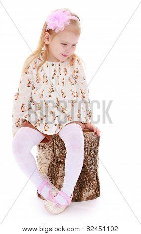 Adorable little girl is sitting on birch stump.