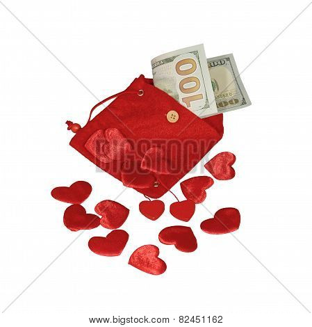 Red Pouch With Hundred Dollars Banknote